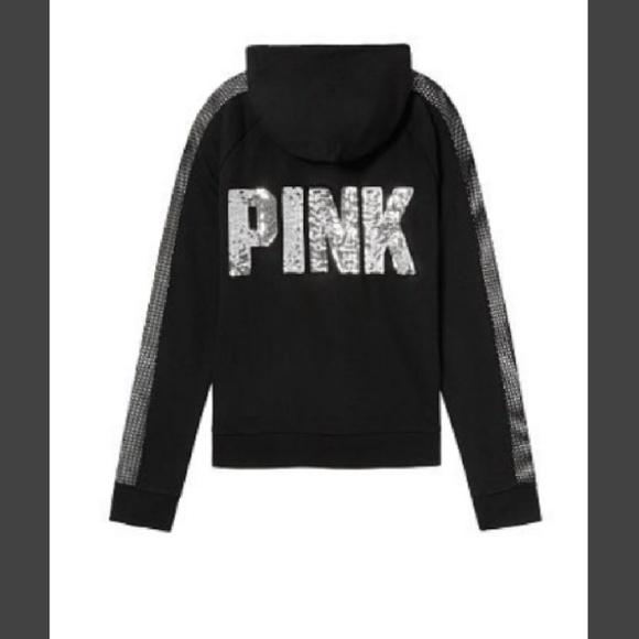 abc6ebecd3599 Victoria Secret PINK Mesh Bling Hoodie NWT
